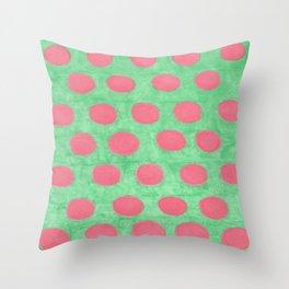 Pink and Green Polka Dots Throw Pillow