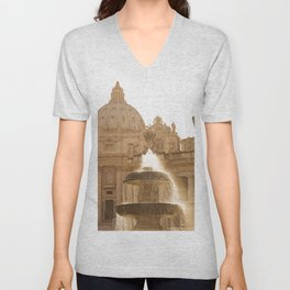 Bernini's Fountain Unisex V-Neck