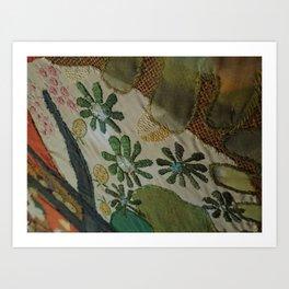 Green daisies on burlap Art Print