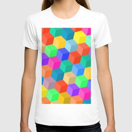 Crayon Colored Perspective Cubes T-shirt