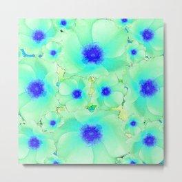 Celadon Jade Green-Blue Color Flower Pattern Metal Print
