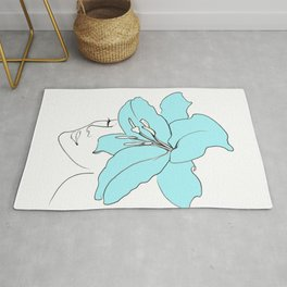 Blue Lily Woman / Line Drawing Rug