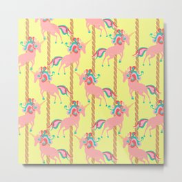 Pink Unicorn Carousel Metal Print