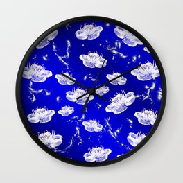 white blossom in blue and silver Digital pattern with circles and fractals artfully colored design Wall Clock