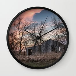 Evening Shade - Old Shed Hidden in Trees at Sunset in Kansas Wall Clock