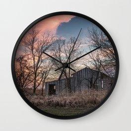 Evening Shade - Old Barn Hidden in Trees at Sunset in Kansas Wall Clock