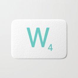 Aqua Letter W Scrabble Wall Art Bath Mat