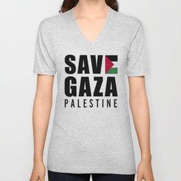 Save Gaza Quote Unisex V-Neck