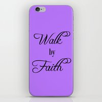 bible verse iPhone & iPod Skins featuring Walk by Faith Bible Verse by Quote Life Shop