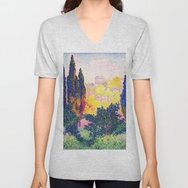 The Cypresses In Cagnes - Digital Remastered Edition Unisex V-Neck