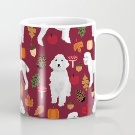 Poodle fall autumn leaves acorns pinecones cute standard white poodles Coffee Mug