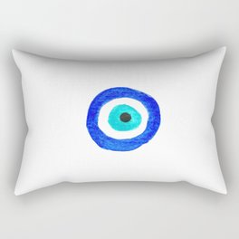 Single Evil Eye Amulet Talisman Ojo Nazar - on white Rectangular Pillow