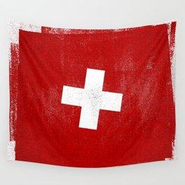 Swiss Distressed Halftone Denim Flag Wall Tapestry