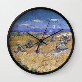 Vincent Van Gogh - Wheat Fields With Reaper, Auvers Wall Clock