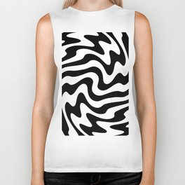 Black and white abstract striped Optical Art Biker Tank