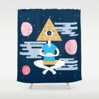 god Shower Curtains featuring GOD by Xènia Castellví