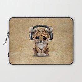 Cute Leopard Cub Dj Wearing Headphones Laptop Sleeve