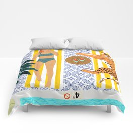 How To Vacay With Your Tiger #illustration Comforters