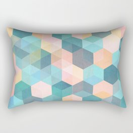 Child's Play 2 - hexagon pattern in soft blue, pink, peach & aqua Rectangular Pillow