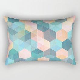 Child's Play 2 - hexagon pattern in soft blue, pink, peach & aqua Rectangular Pillow