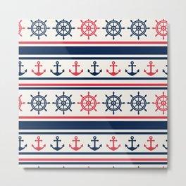 Blue Pink Sea Navy Pattern Metal Print