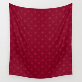 Crimson Red on Burgundy Red Snowflakes Wall Tapestry
