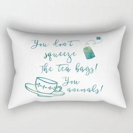 Don't Squeeze the Tea Bag - Blue Rectangular Pillow