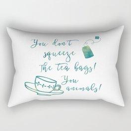 Don't Squeeze the Tea Bag - Blue Rectangular Pillow