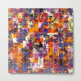 psychedelic geometric square pattern painting abstract background in orange blue pink red Metal Print