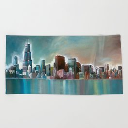 Chicago At Noon Beach Towel
