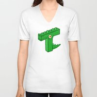 t rex V-neck T-shirts featuring T-Rex by Artistic Dyslexia