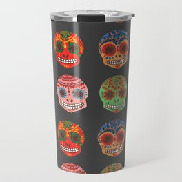 Watercolor Dia de los Muertos Skulls Travel Mug