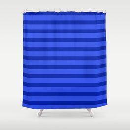 Cobalt Blue Stripes Shower Curtain