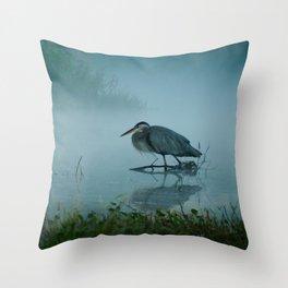 Blue Heron Misty Morning Throw Pillow