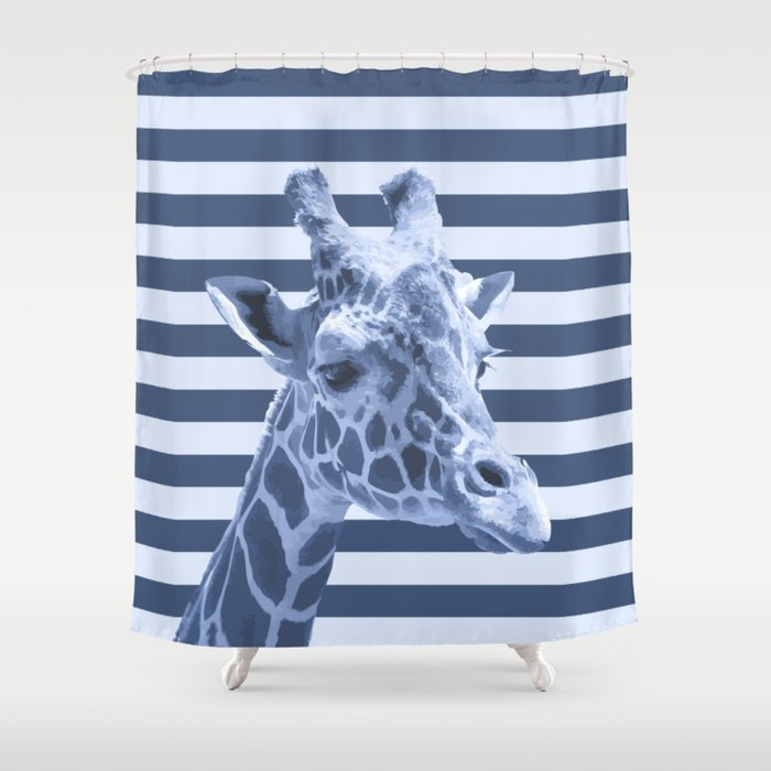 Animals Stripes Blue Giraffe Shower Curtain