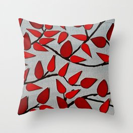 Red Autumn Leaves over Dark Skies Throw Pillow