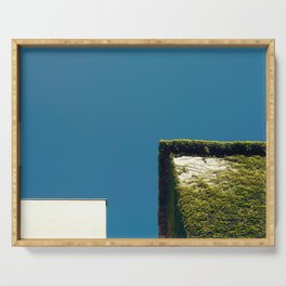 White Square, Green Square, Blue Sky Serving Tray
