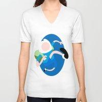 finn V-neck T-shirts featuring Finn by Polvo