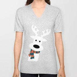 Reindeer in a snowy day (blue) Unisex V-Neck