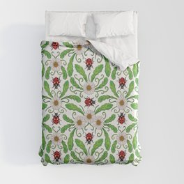 Ladybugs & Daisies - Cute Floral Bug Pattern with Ladybirds Duvet Cover