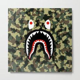 camo shark Metal Print