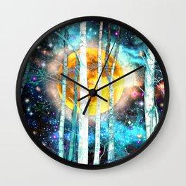 Night Birch Forest Wall Clock