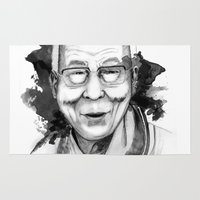 lama Area & Throw Rugs featuring Belief & Knowledge (Dalai Lama) by carographic by carographic watercolor portraits