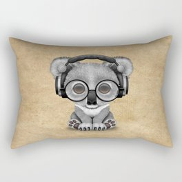 Cute Baby Koala Bear Dj Wearing Headphones Rectangular Pillow