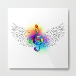 Rainbow Treble Clef with Wings Metal Print