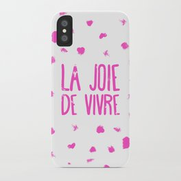 Pink French typography brushstrokes Joie de vivre iPhone Case