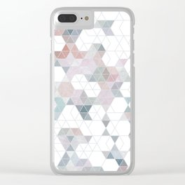 Abstract Snow on Soft Geometry #abstractart #winterart Clear iPhone Case
