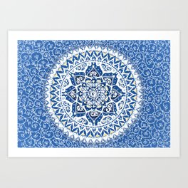 Yin Yang Mandala Pattern (Blue & Yellow) Art Print