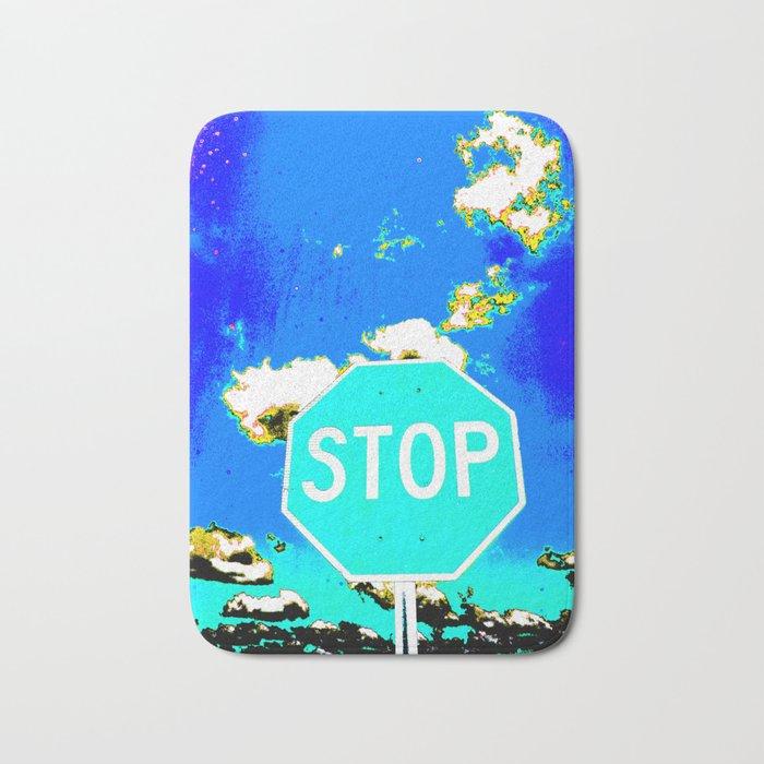 A BLUE STOP SIGN Bath Mat