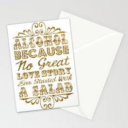 Gold Glitter Effect Typography Drinks Sign Stationery Cards